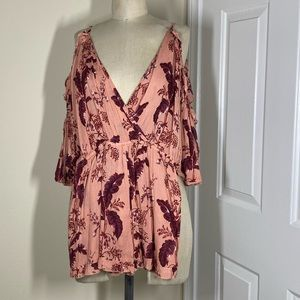 Pink and red floral romper
